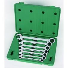 Набор ключей,   7пр. Комбинированные с трещот./механизм (S.A.E.) пласт.кор. (09023)