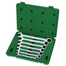 Набор ключей,   7пр. Комбинированные с трещот./механизм (Metric) пласт.кор.