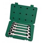 Набор ключей,   5пр. Комбинированные с трещот./кардан/механизм (Metric) пласт.кор.